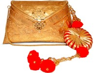 Ruhmet Embossed Gold With Red Gotta Detail Tassel  Clutch - Brass