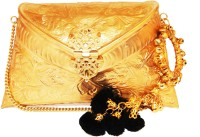 Ruhmet Embossed Gold With Black Ghungru Detail Tassel  Clutch - Brass