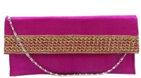 Bhamini Envelope Shape Rose Gold Lace Clutch (Pink)  Clutch - Pink-01