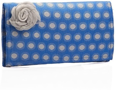 Voylla Blue Brocade Wallet with Circular Pattern Clutch Blue, Silver