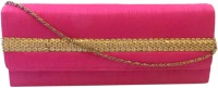 Bhamini Raw Silk With Gold Sequinned Center Border Women Party Pink Silk  Clutch