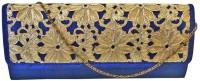 Bhamini Raw Silk Box With Cutwork Lace Flap Women Party Blue Silk  Clutch