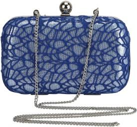 Samisha Women Party Blue Polyester Net, Iron, Plastic  Clutch