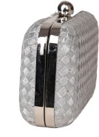 Adara Collections Matt Clutch Women Party Silver Synthectic  Clutch
