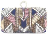 Myrah Box Women Casual Blue Metal Clutch