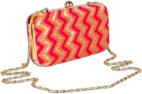 Arancia Multicolor Chevron Girls, Women Festive, Wedding, Formal, Party, Casual Pink, Orange Woven Fabric, Metal  Clutch