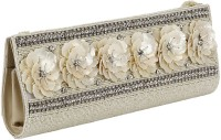 Gold Zari House Casual, Party, Festive Silver, Beige Glass Beads, Polyester Satin, PU Linning  Clutch