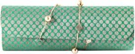 Favola Women Party Green, Gold Fabric Clutch