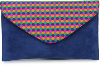 Do Bhai Women Casual Blue Suede  Clutch