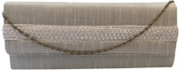 Bhamini Raw Silk With Gold Sequinned Center Border Women Party Silver Silk  Clutch