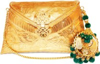 Ruhmet Embossed Gold With Green Chand Baali Detail Tassel  Clutch - Brass
