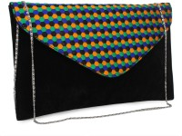 Do Bhai Dot-Print Women Party Black Non-Leather Clutch