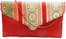 Bhamini Women Festive Red Silk  Clutch