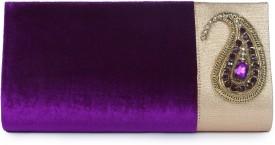 Kleio Girls, Women Festive, Party, Wedding Purple Velvet  Clutch