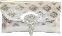 Women Trendz Brooch With Diamonds Women Wedding Silver PU Clutch