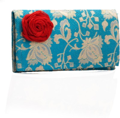 Voylla Bright Blue Brocade with Red Rose Brooch Clutch Blue, Red, Gold