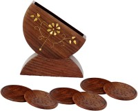Pindia Round Wood Coaster Set Brown, Gold, Pack Of 6