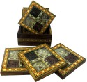 R S Jewels Handicraft Gemstone Painting Wooden Coaster - Pack Of 1
