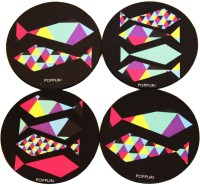 Poppuri Coasters PVC Rubber Coaster Set Pack of 4