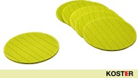 Koster Round Vinyl Record Coaster Set Green, Pack Of 6