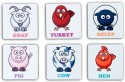 Eco Corner Farm Animals MDF Coaster Set - Pack Of 6