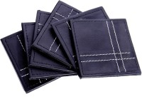 Sutra Decor Grain Genuine Leather Coaster Set (Pack Of 6)