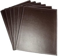 Amita Home Furnishing Rectangle Leather Coaster Set Brown, Pack Of 6