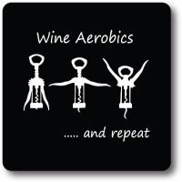 Nourish Wine Aerobics Wood Coaster Multicolor, Pack Of 1