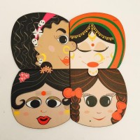 Kya Cheez Hai Desi Acrylic Coaster Set (Pack Of 4)