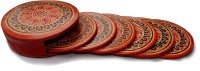 Seher Round Leather Coaster Set Brown, Pack Of 6
