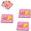 MeSleep Tweety Wooden Coaster Set - Pack Of 4