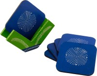 ECraftIndia Square Wood Coaster Set Blue, Green, Pack Of 6