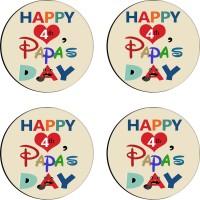 Tiedribbons Round Wood Coaster Set Multicolor, Pack Of 4 - COAE7S68GGAWABPB