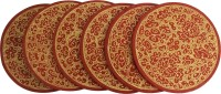 Toygully Round Wood Coaster Set Red, Gold, Pack Of 6