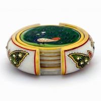 Little India Meenakari Mayur Painting Marble-374 Ceramic Coaster Set (Pack Of 7)