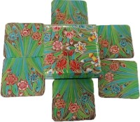 Toygully Square Wood Coaster Set Green, Pack Of 6