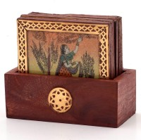 Little India Gemstone Painting Pure Brass-112 Wood Coaster Set (Pack Of 7)