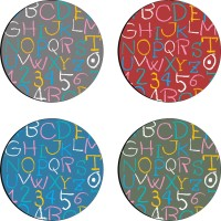 Sajawathomes Colorfull Pattern Set Of Four Design 64 Wood Coaster Set (Pack Of 4)