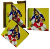 Amraai Square Acrylic, Wood Coaster Set Multicolor, Pack Of 5