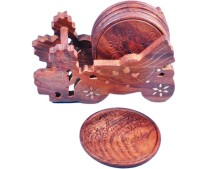 Crafts Paradise Round Wood Coaster Set Brown, Pack Of 7