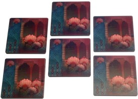 2ndmay Rose Wooden Coaster Set - Pack Of 6