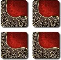 Shaildha Designer Medium Density Fibreboard Coaster Set Multicolor, Pack Of 4 - COAE6HZZJXVBYF3C