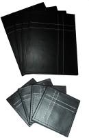 Amita Home Furnishing Rectangle Leather Coaster Set Black, Pack Of 8
