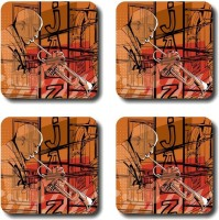 Shaildha Designer Medium Density Fibreboard Coaster Set Multicolor, Pack Of 4 - COAE6HUMQYSCKG3G