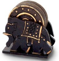 Little India Elephant Design Wooden-110 Wood Coaster Set (Pack Of 7)