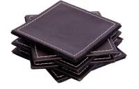 Sutra Decor Grain Genuine Leather Coaster Set (Pack Of 6) - COAE5TFUZJVMKG8S