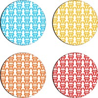 Sajawathomes Colorfull Pattern Set Of Four Design 82 Wood Coaster Set (Pack Of 4)