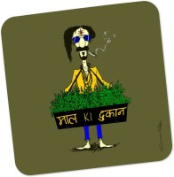 PosterGuy Maal Ki Dukaan Weed Inspired Quirky Wood Coaster Multicolor, Pack Of 1