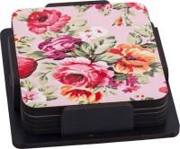 Thin N Fat Pink Flower Digital Printed Tea Wood Coaster Set (Pack Of 6)