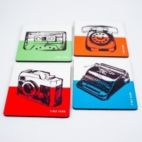 Half Horn Half N Half Retro Acrylic Coaster Set (Pack Of 4)